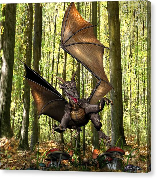 Dragon 'edwin' - Dropping In For A Snack Canvas Print
