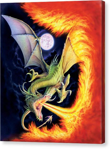 Dragons Canvas Print - Dragon Fire by The Dragon Chronicles