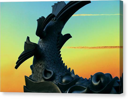 Japanese Garden Canvas Print - Dragon Fish by Courtney Lively