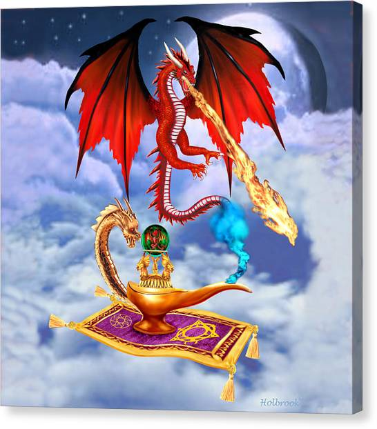 Fire Ball Canvas Print - Dragon Genie by Glenn Holbrook