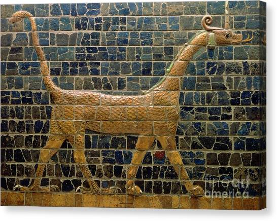 Mythological Creatures Canvas Print - Dragon Of Marduk - On The Ishtar Gate by Anonymous