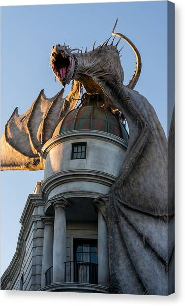 Harry Potter Canvas Print - Dragon Over Diagon Alley by Matthew T Ross