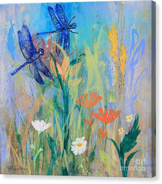 Dragonflies In Wild Garden Canvas Print
