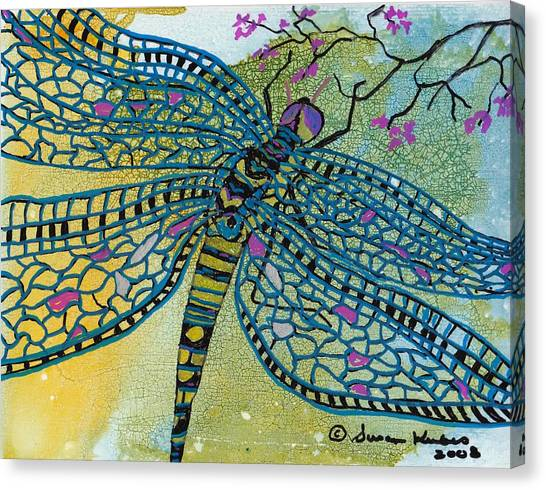 Dragonfly And Cherry Blossoms Canvas Print by Susan Kubes