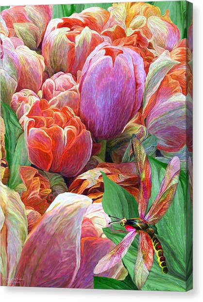 Canvas Print featuring the mixed media Dragonfly And Tulips 2 by Carol Cavalaris