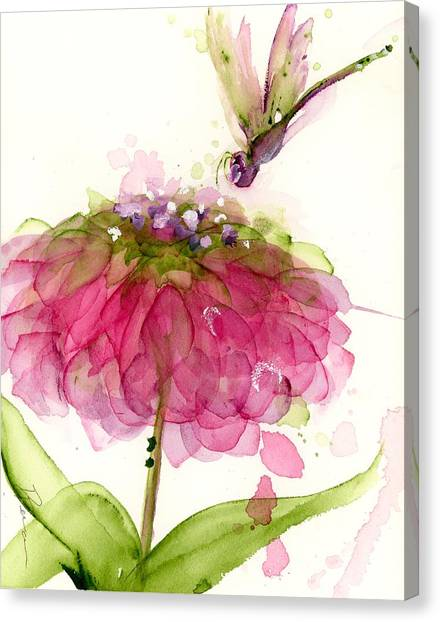 Dragonfly And Zinnia Canvas Print