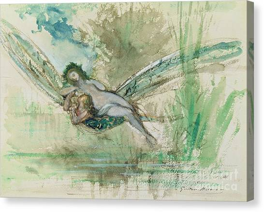Female Nudes Canvas Print - Dragonfly by Gustave Moreau
