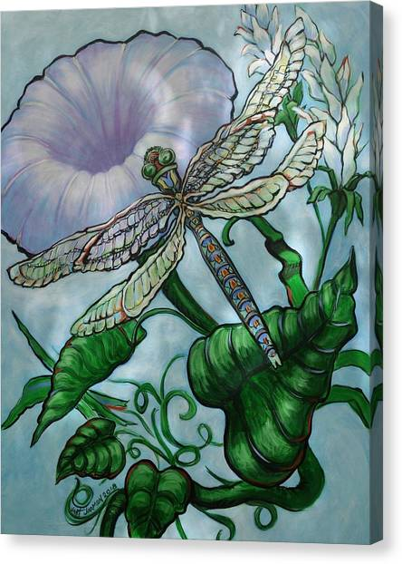 Canvas Print featuring the painting Dragonfly In Sun by Jeanette Jarmon