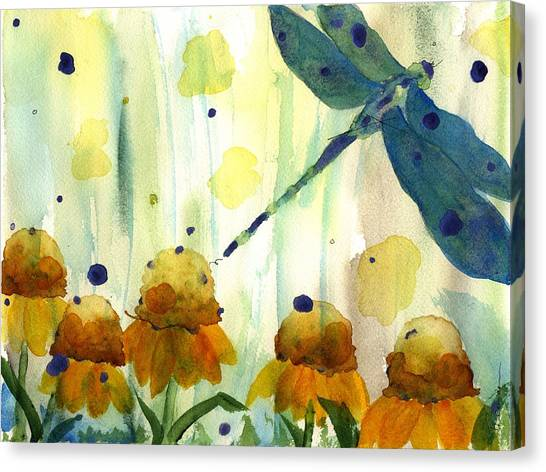 Dragonfly In The Wildflowers Canvas Print