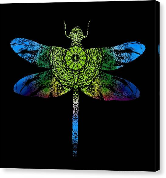 Canvas Print featuring the digital art Dragonfly Kaleidoscope by Deleas Kilgore