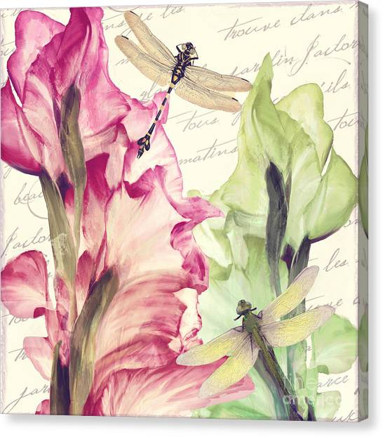 Gladiolas Canvas Print - Dragonfly Morning I by Mindy Sommers