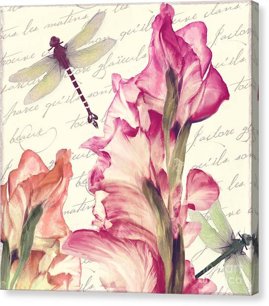 Gladiolas Canvas Print - Dragonfly Morning II by Mindy Sommers