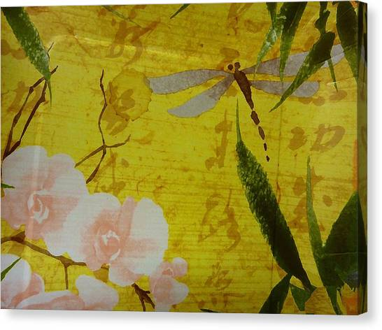 Dragonfly N Roses Canvas Print