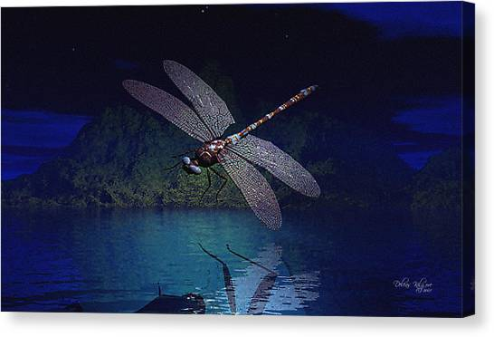 Canvas Print featuring the digital art Dragonfly Night Reflections by Deleas Kilgore