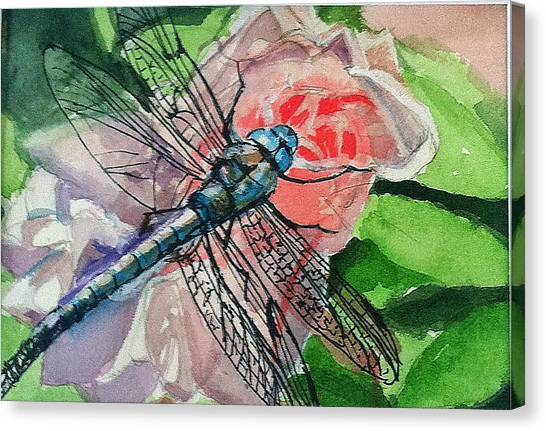 Dragonfly On Rose Canvas Print