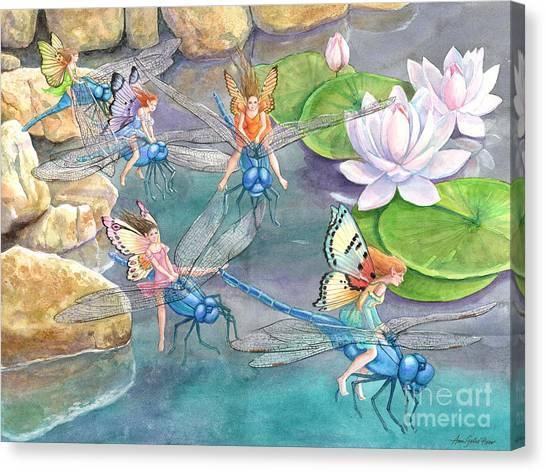 Dragonfly Races Canvas Print by Ann Gates Fiser
