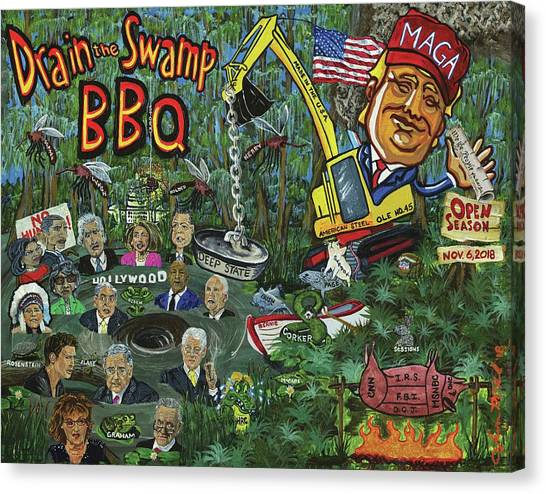 Nancy Pelosi Canvas Print - Drain The Swamp by Jason McKeel