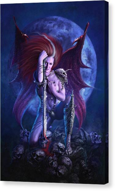 Canvas Print featuring the digital art Drakaina by Uwe Jarling