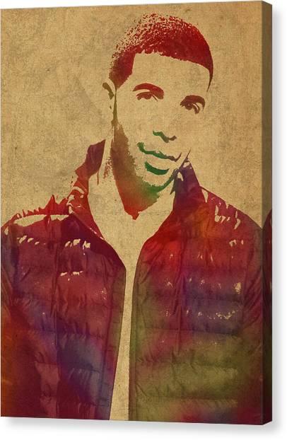 Drake Canvas Print - Drake Watercolor Portrait by Design Turnpike