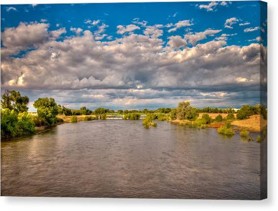 Dramatic Clouds And Kern River Canvas Print