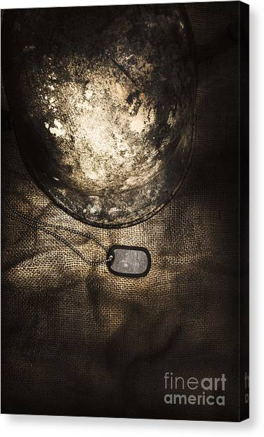 The Legion Canvas Print - Dramatic Dog Tags And Military Helmet Still Life by Jorgo Photography - Wall Art Gallery