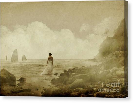 Dramatic Seascape And Woman Canvas Print