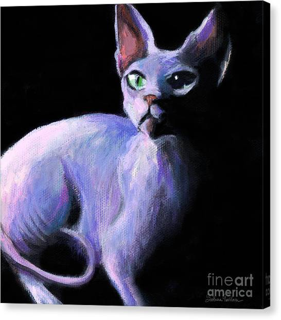 Sphynx Cats Canvas Print - Dramatic Sphynx Cat Print Painting by Svetlana Novikova