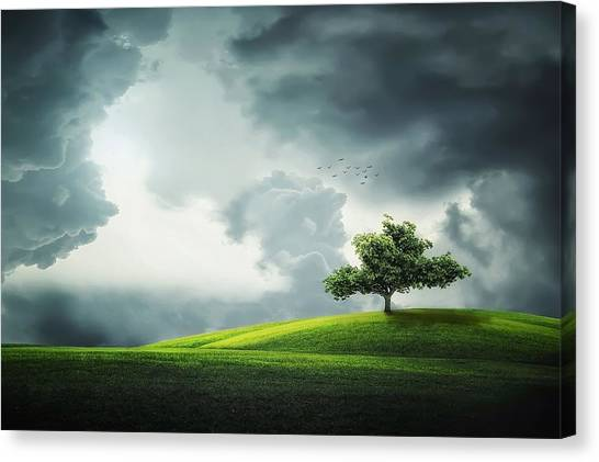 Hailstorms Canvas Print - Dramatic Summer Thunderstorm And Scenic Nature Landscape by Artpics
