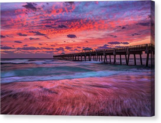 Dramatic Sunrise Over Juno Beach Pier, Florida Canvas Print