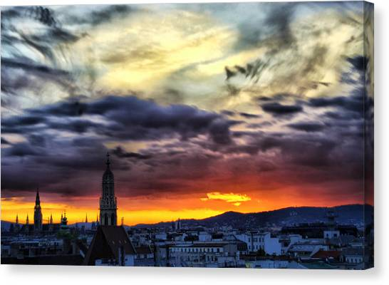 Dramatic Sunset Clouds Over Vienna Canvas Print