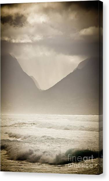 Dramatic Sunset On Maui Hawaii Iao Valley Canvas Print by Denis Dore