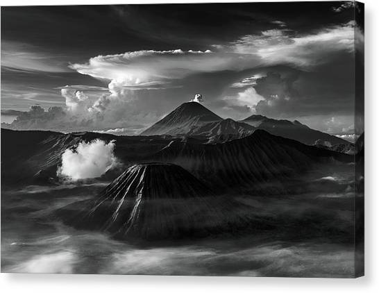 Canvas Print featuring the photograph Dramatic View Of Mount Bromo by Pradeep Raja Prints