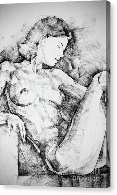 Drawing Beautiful Girl Figure Canvas Print