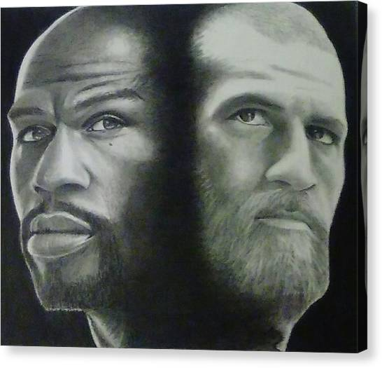 Floyd Mayweather Canvas Print - Drawing Floyd Mayweather And Conor Mcgregor by Chadd Dudley