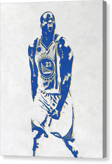 Golden State Warriors Canvas Print - Draymond Green Golden State Warriors Pixel Art by Joe Hamilton