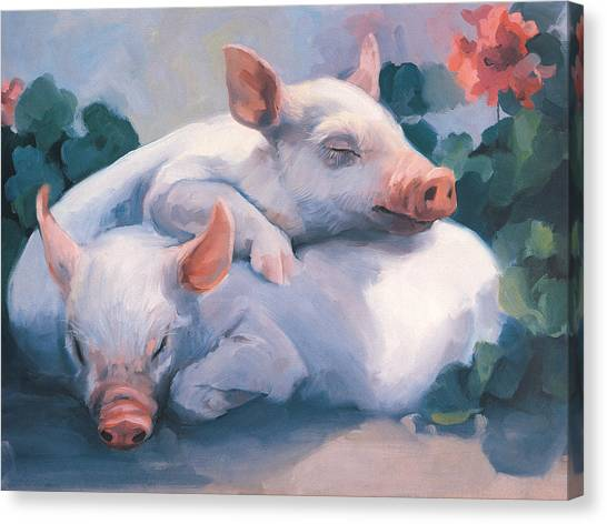 Hogs Canvas Print - Dream Away Piglets by Laurie Hein