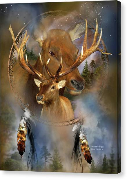 Catchers Canvas Print - Dream Catcher - Spirit Of The Elk by Carol Cavalaris