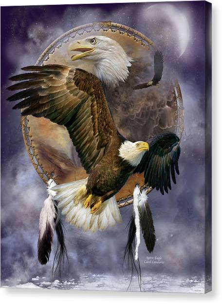 Catchers Canvas Print - Dream Catcher - Spirit Eagle by Carol Cavalaris
