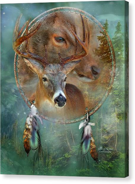 Catchers Canvas Print - Dream Catcher - Spirit Of The Deer by Carol Cavalaris
