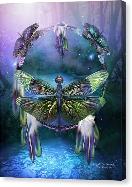 Catchers Canvas Print - Dream Catcher - Spirit Of The Dragonfly by Carol Cavalaris