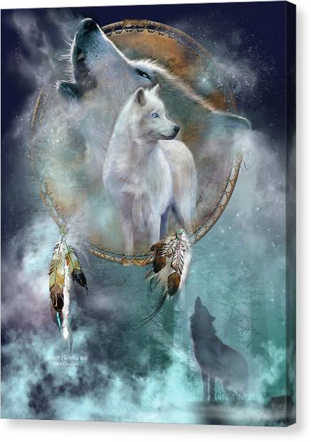 Catchers Canvas Print - Dream Catcher - Spirit Of The White Wolf by Carol Cavalaris