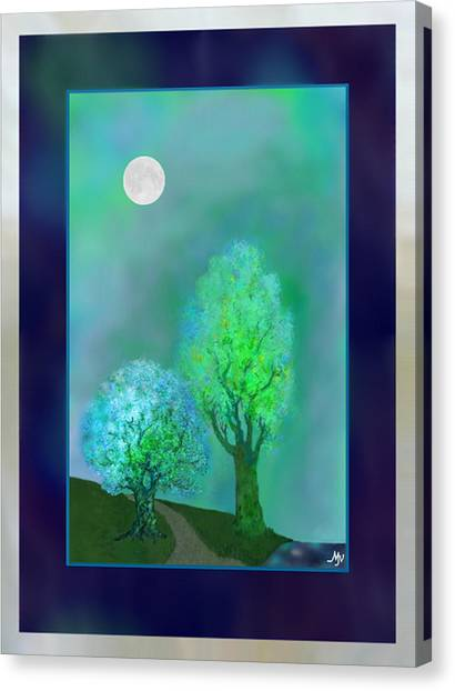Dream Trees At Twilight With Borders Canvas Print by Mathilde Vhargon
