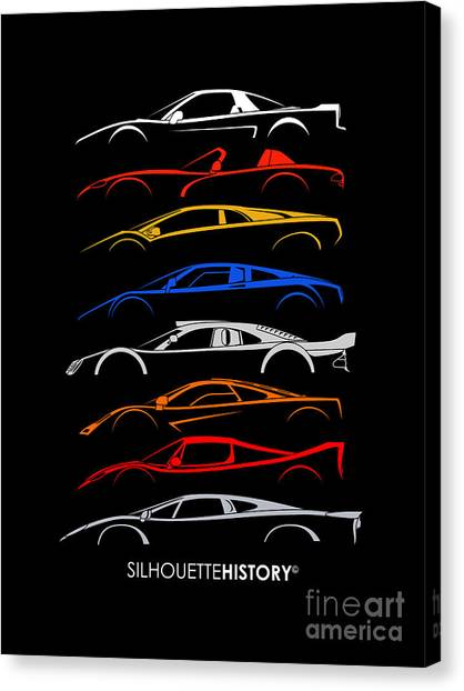 Dodge Canvas Print - Dreamcars Of 90s Silhouettehistory by Gabor Vida