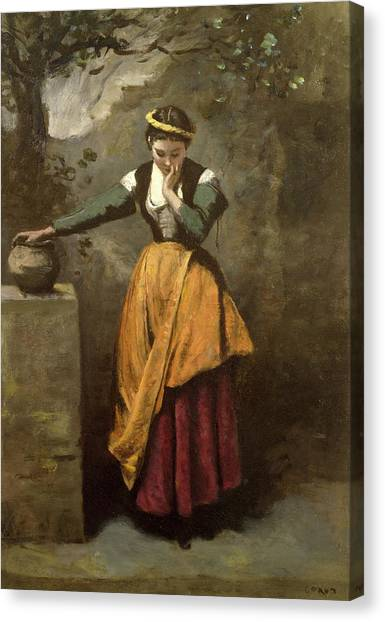 Worried Canvas Print - Dreamer At The Fountain by Jean Baptiste Camille Corot