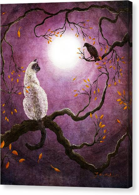 Siamese Canvas Print - Dreaming Of A Raven by Laura Iverson