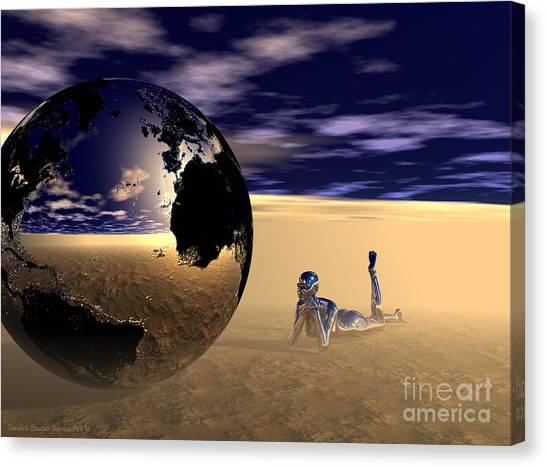 Canvas Print featuring the digital art Dreaming Of Other Worlds by Sandra Bauser Digital Art