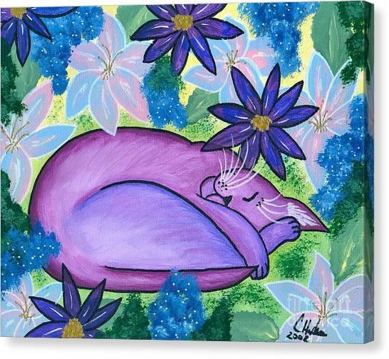 Dreaming Sleeping Purple Cat Canvas Print