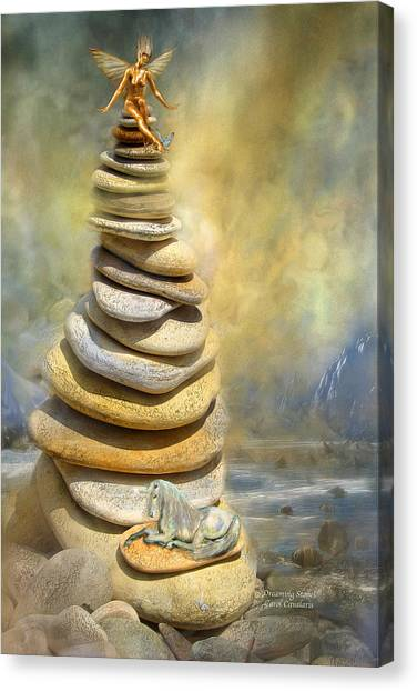 Fairy Canvas Print - Dreaming Stones by Carol Cavalaris