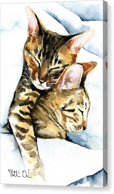 Dreamland - Bengal And Savannah Cat Painting Canvas Print