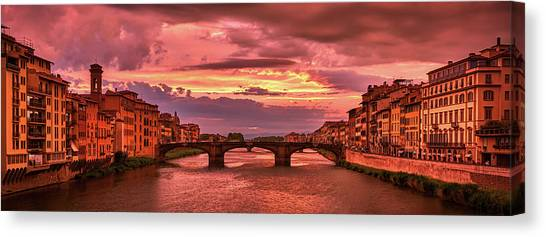 Dreamlike Sunset From Ponte Vecchio Canvas Print